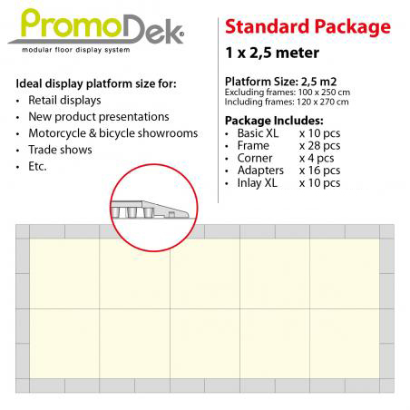PromoDek® Package 2,5x1 Meter [8.2x3.3 Feet]